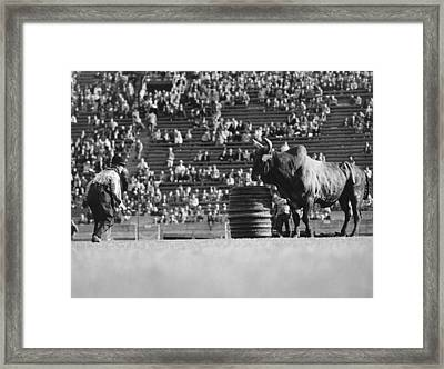 Rodeo Clown Watches Bull Framed Print