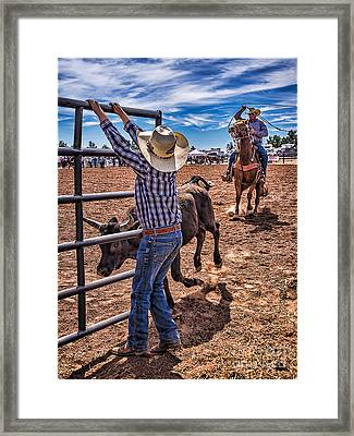 Rodeo Gate Keeper Framed Print by Priscilla Burgers