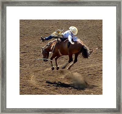 Rodeo Time Bucking Bronco 2 Framed Print by Susan Garren