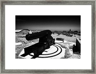 Rodman Civil War Cannon On Gun Carriage At Fort Jefferson Dry Tortugas National Park Florida Keys Us Framed Print by Joe Fox
