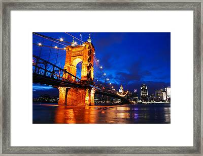 Roebling Bridge Cincinnati Framed Print by James Kirkikis