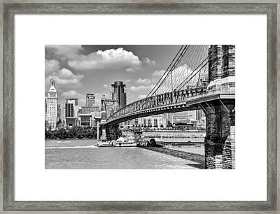 Roebling Bridge Framed Print by Diana Boyd
