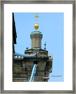 Roebling Bridge From Kentucky Framed Print by Kathy Barney
