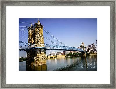 Roebling Bridge In Cincinnati Ohio Framed Print by Paul Velgos