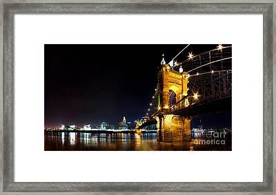 Roebling Bridge In Cincinnati Framed Print