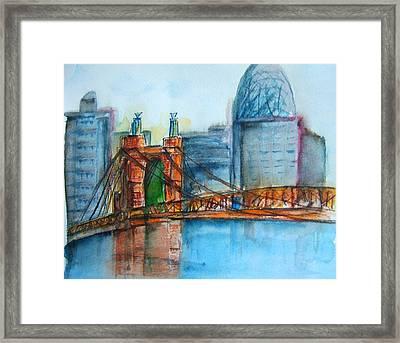 Roebling Bridge Near Dusk Framed Print by Elaine Duras