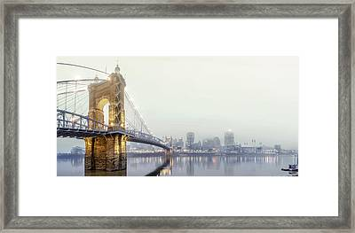Roebling In The Fog Framed Print by Keith Allen