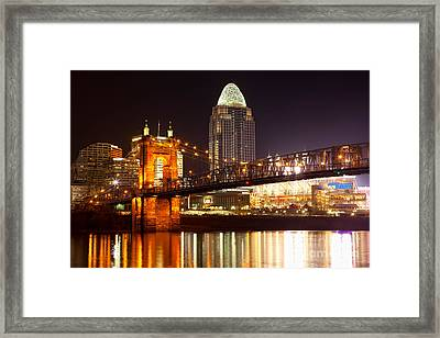 Roebling Suspension Bridge At Cincinnati Ohio Framed Print