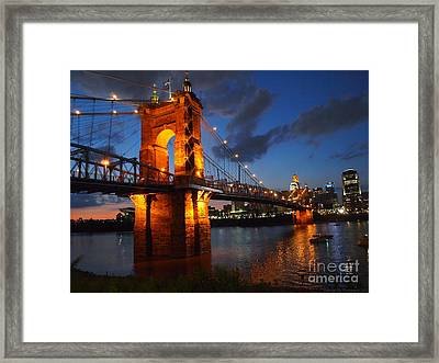 Roebling Suspension Bridge At Sunset Framed Print