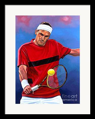 Roger Federer Paintings Framed Prints