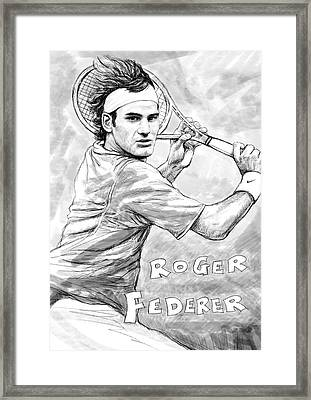 Roger Federer Art Drawing Sketch Portrait Framed Print by Kim Wang