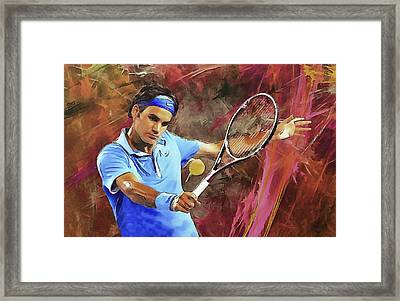 Roger Federer Backhand Art Framed Print