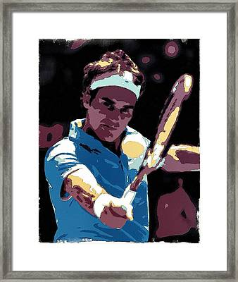 Roger Federer Portrait Art Framed Print by Florian Rodarte