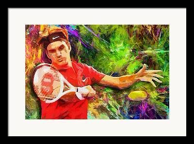 Roger Federer Digital Art Framed Prints