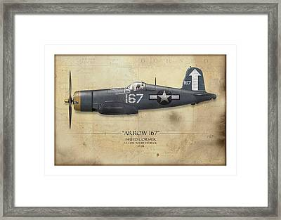 Roger Hedrick F4u Corsair - Map Background Framed Print