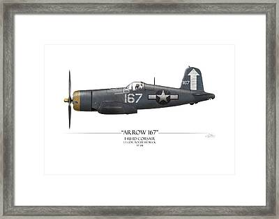Roger Hedrick F4u Corsair - White Background Framed Print