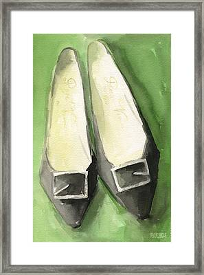 Roger Vivier Black Buckle Shoes Fashion Illustration Art Print Framed Print