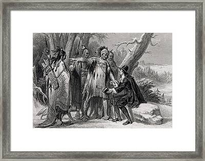 Roger Williams Sheltered By The Narragansetts Framed Print by James Charles Armytage