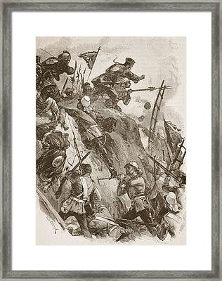 Rogers Got In, Helped Up By Lieutenant Framed Print by William Heysham Overend
