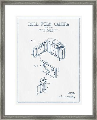Roll Film Camera Patent From 1952- Blue Ink Framed Print