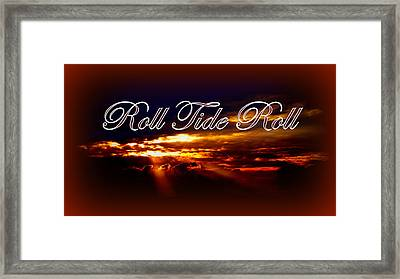 Roll Tide Roll W Red Border - Alabama Framed Print by Travis Truelove