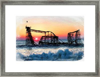 Roller Coaster After Sandy Framed Print by Tony Rubino