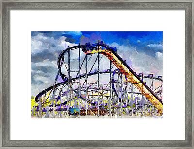 Roller Coaster Painting Framed Print by Magomed Magomedagaev