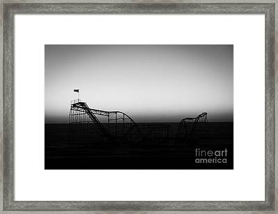 Roller Coaster Silhouette Black And White Framed Print by Michael Ver Sprill