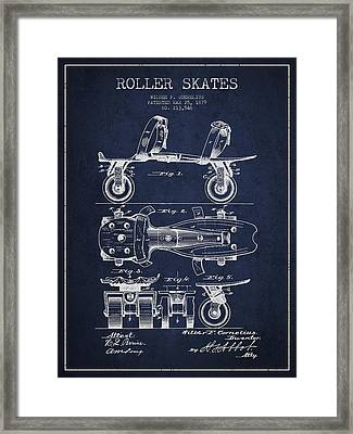 Roller Skate Patent Drawing From 1879 - Navy Blue Framed Print