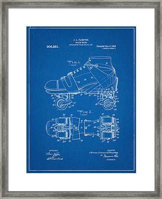 Roller Skate Patent One In Blue Framed Print by Decorative Arts