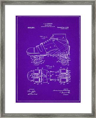 Roller Skate Patent One In Purple Framed Print by Decorative Arts