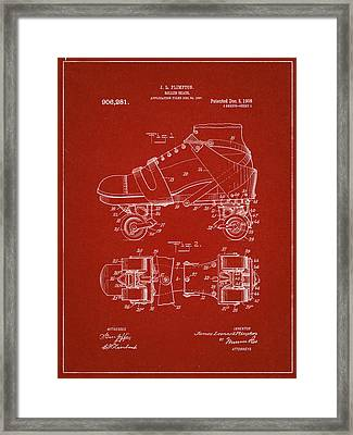 Roller Skate Patent One In Red Framed Print by Decorative Arts