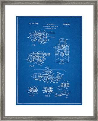 Roller Skate Patent Two In Blue Framed Print by Decorative Arts