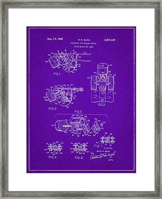 Roller Skate Patent Two In Purple Framed Print by Decorative Arts