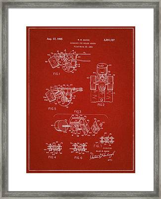 Roller Skate Patent Two In Red Framed Print by Decorative Arts
