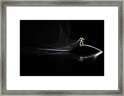 Roller Skating On A Fork With Smoke Torch Framed Print by Paul Ge