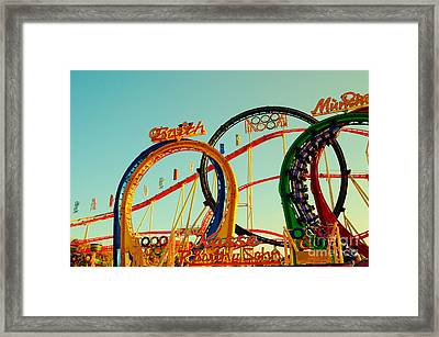 Rollercoaster At The Octoberfest In Munich Framed Print