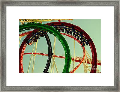 Rollercoaster Looping At The Actoberfest In Munich Framed Print