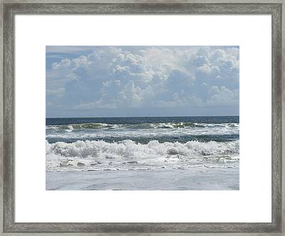 Rolling Clouds And Waves Framed Print by Ellen Meakin