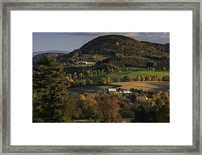 Rolling Hills Of Peacham Vermont - Autumn Scenic Framed Print by Thomas Schoeller