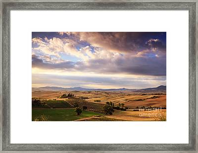 Rolling Hills Of Tuscany Framed Print by Matteo Colombo