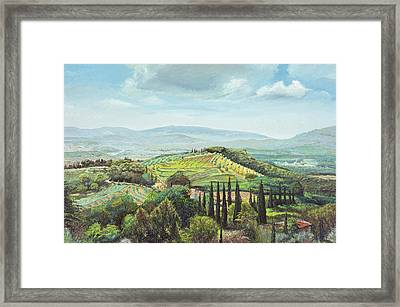 Rolling Hills, Pistoia, Tuscany Oil On Canvas Framed Print by Trevor Neal