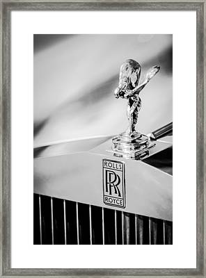 Rolls-royce Hood Ornament -782bw Framed Print by Jill Reger