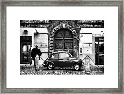Roma Streets In Black And White Framed Print by John Rizzuto