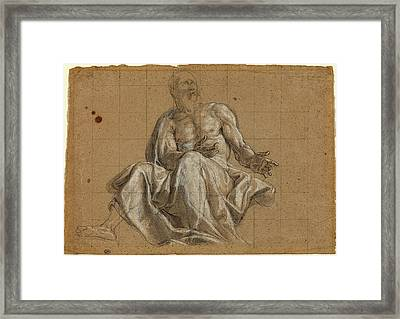 Roman 18th Century, An Elderly Man In Classical Drapery Framed Print