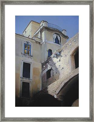 Roman Apartments - Pastel Framed Print by Ben Kotyuk