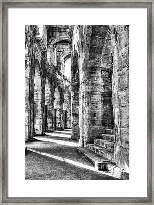 Roman Arena At Arles Bw Framed Print by Mel Steinhauer