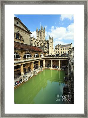 Roman Bath And Bath Abbey Framed Print by Paul Cowan