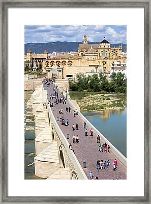 Roman Bridge And Mezquita In Cordoba Framed Print