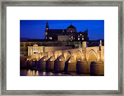 Roman Bridge And Mezquita In Cordoba At Dawn Framed Print